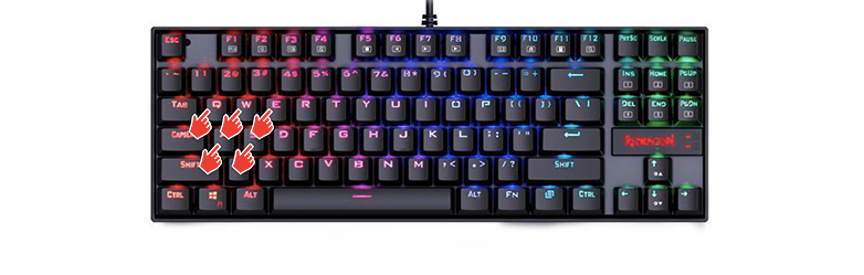 How to change color on Redragon keyboard - Keys selection